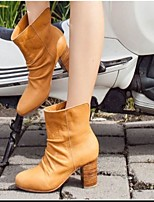 cheap -Women's Boots Chunky Heel Round Toe Rubber PU Color Block Yellow Black