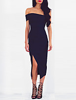 cheap -Women's Sheath Dress Midi Dress Navy Blue Sleeveless Solid Color Backless Split Fall Summer Off Shoulder Elegant Casual Sexy 2021 S M L XL / Party Dress