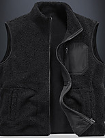 cheap -Men's Teddy Coat Daily Winter Regular Coat Loose Windproof Warm Sporty Jacket Sleeveless Solid Color Full Zip Dark Grey Blue Yellow