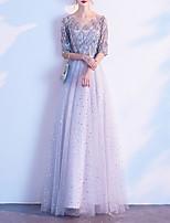 cheap -A-Line Glittering Elegant Party Wear Prom Dress V Neck Half Sleeve Floor Length Tulle with Sequin Tassel 2021
