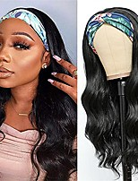 cheap -Body Wave Headband Wig for Woman Long Wavy Synthetic Heat Resistant Synthetic Hair Natural Black Color (24 Inch) (Headband Pattern Random)
