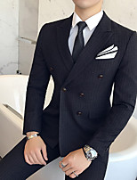 cheap -Men's Wedding Suits 3 pcs Notch Tailored Fit Double Breasted Two-buttons Patch Pocket Striped Cotton