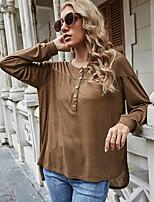 cheap -Women's T shirt Plain Long Sleeve Round Neck Basic Tops Regular Fit Khaki