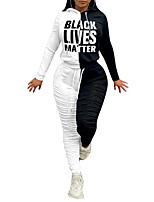 cheap -Women's Sweatsuit 2 Piece Drawstring Pocket Hoodie Spandex Color Block Letter & Number Sport Athleisure Clothing Suit Long Sleeve Breathable Soft Comfortable Everyday Use Street Casual Daily Outdoor