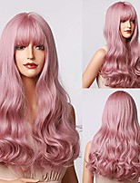 cheap -cyhshy pink wig bangs long wavy wig ,atural synthetic bangs heat-resistant cosplay wig, long pink wig for women daily party cosplay (24 inch)