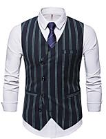 cheap -Men's Vest Gilet Daily Work Fall Winter Regular Coat Regular Fit Thermal Warm Casual Jacket Sleeveless Striped Pocket Black