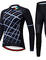 cheap -21Grams Women's Long Sleeve Cycling Jersey with Tights Spandex Polyester Black Funny Bike Clothing Suit 3D Pad Quick Dry Moisture Wicking Breathable Back Pocket Sports Grid / Plaid Mountain Bike MTB