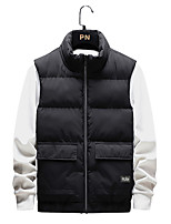 cheap -Men's Vest Gilet Street Daily Going out Fall Winter Regular Coat Regular Fit Thermal Warm Windproof Casual Jacket Sleeveless Solid Color Pocket Camouflage Gray Black