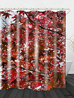 cheap -Red Maple Leaf Printed Waterproof Fabric Shower Curtain Bathroom Home Decoration Covered Bathtub Curtain Lining Including hooks.