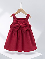 cheap -Kids Little Girls' Dress Solid Colored Strap Dress Casual Daily Ruched Bow Yellow Blushing Pink Black Knee-length Sleeveless Cute Sweet Dresses Fall Regular Fit 2-8 Years