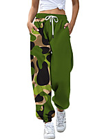 cheap -Women's Fashion Athleisure Breathable Sports Pants Sweatpants Casual Daily Pants Camouflage Full Length Drawstring Print Blue Army Green Orange