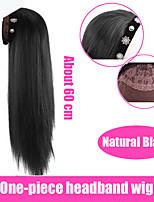 cheap -Synthetic U-shaped Half Head Wig Long Curly Hair Straight Hair Wig Korean Natural Fake Fluffy Long Hair