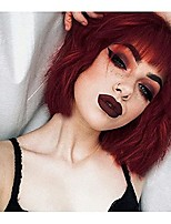 cheap -Short Wavy Wig with Bangs,14 Inch Loose Wave Bob Synthetic Wigs for Black Women Heat Resistant Fiber Hair Wig for Cosplay Daily Use(Wine Red)