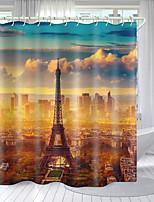 cheap -Eiffel Tower Landscape Series Digital Printing Shower Curtain Shower Curtains  Hooks Modern Polyester New Design