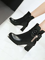 cheap -Women's Boots Chunky Heel Round Toe Booties Ankle Boots Daily Work PU Bowknot Solid Colored Pink White Black / Booties / Ankle Boots