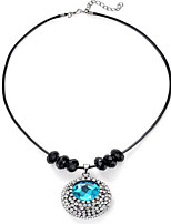 cheap -Pendant Necklace Women's Geometrical Emerald Floral / Botanicals Fashion Cool Silver 45+5 cm Necklace Jewelry 1pc for School Gift Daily Festival Round