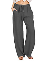 cheap -Women's Casual Trousers Comfort Culottes Wide Leg Pants Loose Casual Daily Pants Solid Color Full Length Wide Leg Drawstring Pocket Elastic Waist High Waist Wine Khaki White Light gray Black