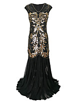 cheap -A-Line Elegant Vintage Holiday Party Wear Dress V Neck Short Sleeve Floor Length Cotton Blend with Sequin Splicing 2021