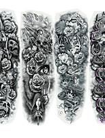 cheap -4 pcs Waterproof Temporary Tattoo Sticker Full Arm Large Skull Old School Tattoo Stickers Flash Fake Tattoos for Men Women