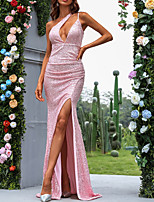 cheap -Sheath / Column Sparkle Sexy Party Wear Formal Evening Dress One Shoulder Sleeveless Floor Length Sequined with Split 2021