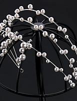 cheap -Women's Ladies Retro Inlaid Geometric Black French Three-row Pearl Headband Wedding Crown Atmospheric Wedding Decorations