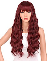 cheap -Wine Red Wig with Bangs Long Wavy Wigs for Womennatural Looking Wavy Synthetic Heat Resistant Wig for Daily Party Cosplay Use