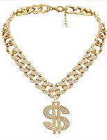 cheap -Pendant Necklace Women's Cuban Link Cubic Zirconia Vertical / Gold bar Fashion Cool Silver Gold 35+7 cm Necklace Jewelry 1pc for Gift Daily Work Festival Geometric
