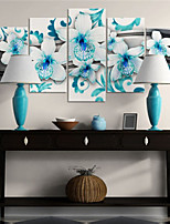 cheap -5 Panels Wall Art Canvas Prints Painting Artwork Picture Floral Home Decoration Decor Rolled Canvas No Frame Unframed Unstretched