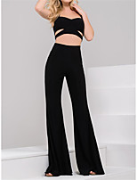 cheap -Jumpsuits Minimalist Sexy Party Wear Wedding Guest Dress Boat Neck Sleeveless Floor Length Stretch Fabric with Sleek 2021