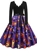cheap -Pumpkin Audrey Hepburn Dress Swing Dress Adults' Women's Vintage Festival Halloween New Year Festival / Holiday Terylene Red+Black / Black / Orange / Purple Women's Easy Carnival Costumes Pumpkin