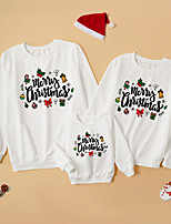 cheap -Christmas Tops Family Look Letter Daily Print Gray White Adorable Matching Outfits / Fall