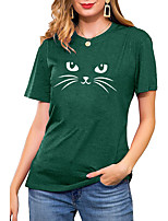 cheap -Women's T shirt Cat Graphic Print Round Neck Basic Vintage Tops Regular Fit Blue Blushing Pink Wine