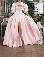 cheap -Two Piece Jumpsuits Glittering Princess Engagement Formal Evening Dress High Neck Half Sleeve Court Train Satin Sequined with Sequin Ruffles 2021