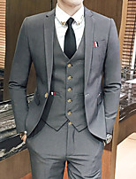 cheap -Men's Wedding Suits 3 pcs Notch Tailored Fit Single Breasted One-button Patch Pocket Solid Colored Cotton