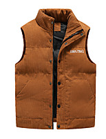 cheap -Men's Corduroy Jacket Quilted Puffer Vest Down Vest Down Winter Outdoor Thermal Warm Windproof Lightweight Breathable Winter Jacket Trench Coat Top Skiing Fishing Climbing Blue Yellow Black