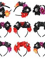 cheap -6 Pcs/set Foam Skull Party Headband Halloween Undead Holiday Headdress Black Simulation Flower Head Buckle