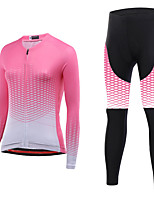 cheap -21Grams Women's Long Sleeve Cycling Jersey with Tights Spandex Pink Bike Quick Dry Moisture Wicking Sports Graphic Mountain Bike MTB Road Bike Cycling Clothing Apparel / Stretchy / Athletic