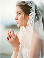 cheap -One-tier Cute / Sweet Wedding Veil Elbow Veils with Beading Tulle