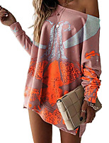 cheap -Women's A Line Dress Short Mini Dress Blushing Pink Gray Khaki Black Long Sleeve Print Print Fall Round Neck Casual 2021 S M L XL XXL 3XL