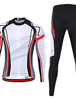 cheap -21Grams Men's Long Sleeve Cycling Jersey with Tights Spandex White Stripes Bike Quick Dry Moisture Wicking Sports Stripes Mountain Bike MTB Road Bike Cycling Clothing Apparel / Stretchy / Athletic