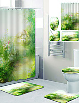 cheap -Beautiful Countryside Scenery Printed Bathroom Home Decoration Bathroom Shower Curtain Lining Waterproof Shower Curtain with 12 Hooks Floor Mats and Four-piece toilet Mats.