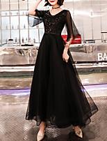 cheap -A-Line Sparkle Elegant Wedding Guest Formal Evening Dress V Neck Half Sleeve Floor Length Tulle Sequined with Sequin 2021
