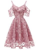 cheap -Women's A Line Dress Midi Dress Purple Blushing Pink Wine Gray Short Sleeve Solid Color Jacquard Fall V Neck Casual 2021 S M L XL XXL