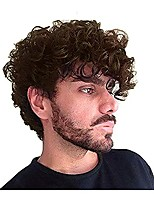 cheap -Short Curly Mens Brown Wig Fluffy Synthetic Cosplay Halloween Hair Wig for Men
