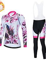 cheap -21Grams Women's Long Sleeve Cycling Jersey with Bib Tights Winter Fleece Spandex Red / White Black / Red Floral Botanical Bike Quick Dry Moisture Wicking Sports Floral Botanical Mountain Bike MTB