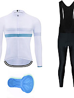 cheap -21Grams Men's Long Sleeve Cycling Jersey with Bib Tights Summer Spandex White Bike Quick Dry Moisture Wicking Sports Horizontal Stripes Mountain Bike MTB Road Bike Cycling Clothing Apparel / Stretchy