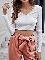 cheap -Women's Hawaii Crop Tshirt Plain Long Sleeve Lace V Neck Basic Tops White