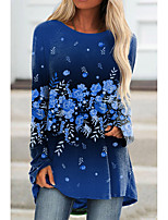 cheap -Women's Floral Theme Painting T shirt Floral Graphic Long Sleeve Print Round Neck Basic Tops Regular Fit Blue Purple Blushing Pink / 3D Print