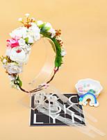cheap -1 Piece Handmade Flower Headgear Children Holiday Head Flower Bridal Wreath Simulation Flower Headband Photo Props