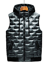 cheap -Men's Padded Hiking Vest Quilted Puffer Vest Winter Outdoor Thermal Warm Windproof Lightweight Breathable Winter Jacket Trench Coat Top Skiing Fishing Climbing Grey Black Red